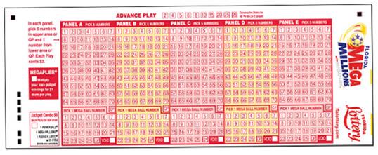 Bilhete da americana loteria MegaMillions