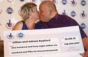 Adrian Bayford and his wife - Uk euromillions winners kissing with check