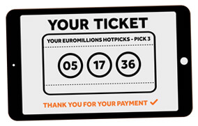 Euromillions hotpicks ticket on tablet