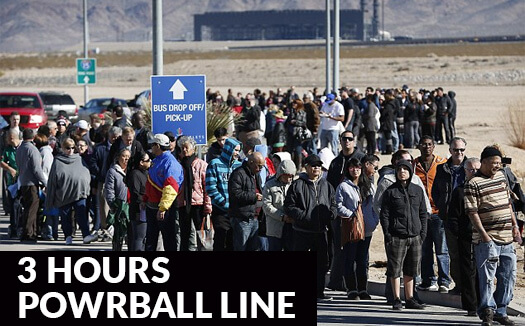 3 hours long queue to Powerball ticket