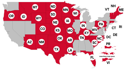 Map of states involved to Powerball lottery